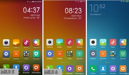 miui 7 vs miui 6 vs miui 5 home screen