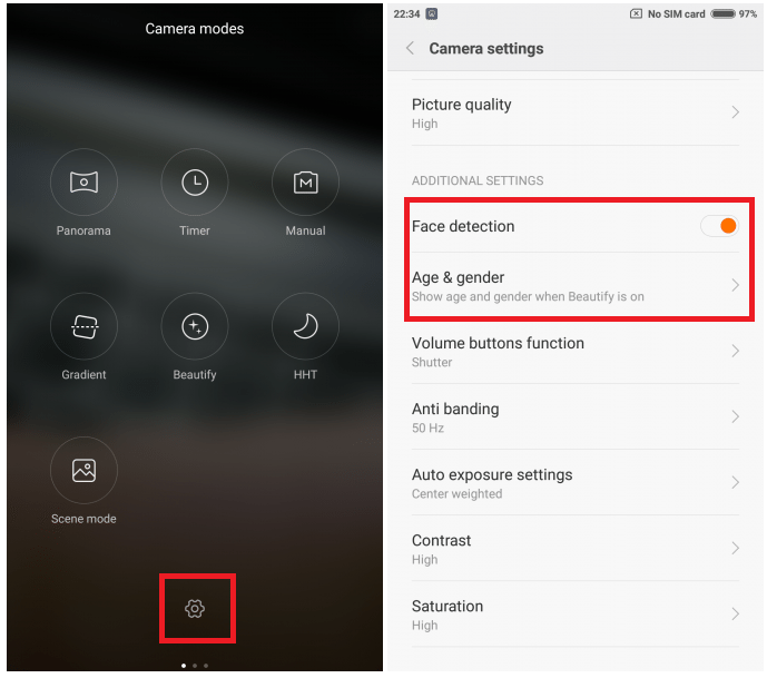 MIUI Camera: Enable settings to autodetect gender and age of