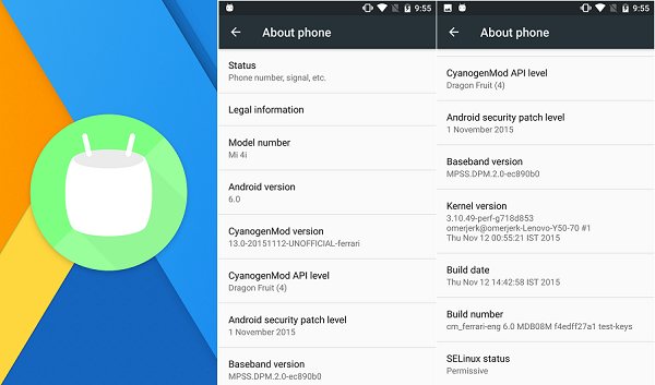 Download Xiaomi Mi4i Android 6 0 Marshmallow Update [CM13] | Xiaomi