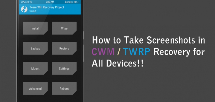 screenshots in CWM/TWRP recovery Android