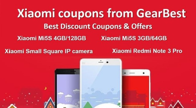 Xiaomi coupons from GearBest