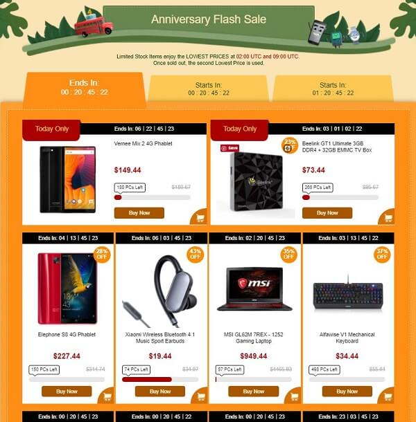 Gearbest 4th Anniversary Sale flash