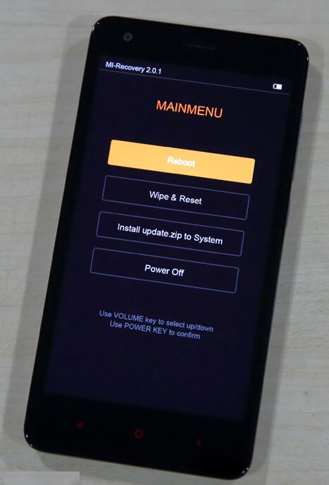 Recovery mode main menu xiaomi