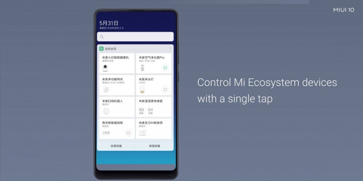MIUI 10 Control Mi Ecosystem devices with single tap