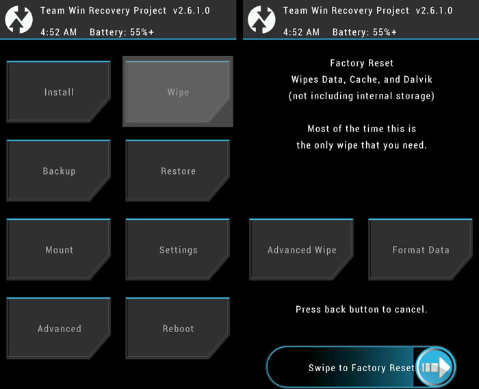TWRP Wipe factory reset