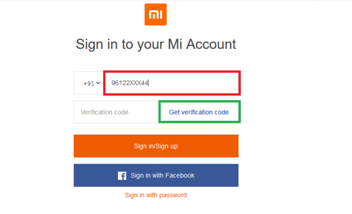 Sign in to Mi Account without passowrd 6