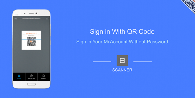 Sign in to Mi Account without passowrd using QR code